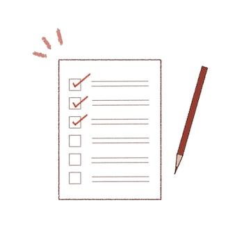 Listes de contrôle et stylos. style artistique mignon et simple. sur un fond blanc.