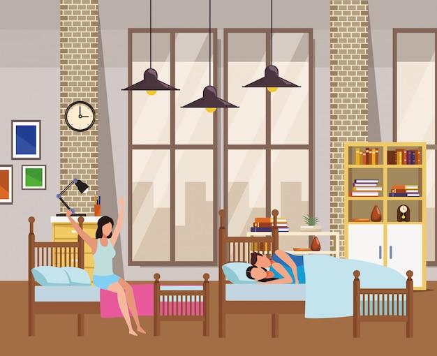 Lit double avec dortoir et couple