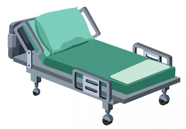 Un lit d'hôpital moderne sur fond blanc