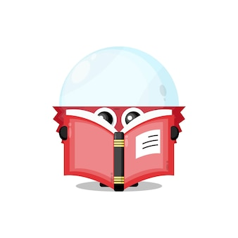 Litchi lisant une mascotte de personnage mignon de livre