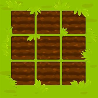 Lits de jardin verts dans le cadre
