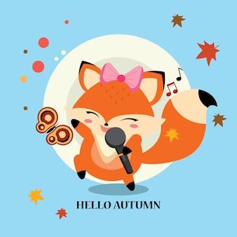 Little fox chantant à l'automne