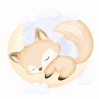 Little fox sleep on moon