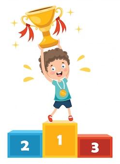 Little kid celebrating championship win