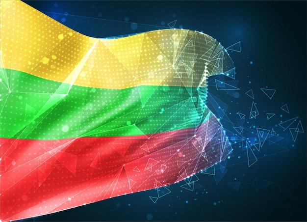 Lituanie, drapeau vectoriel, objet 3d abstrait virtuel à partir de polygones triangulaires sur fond bleu