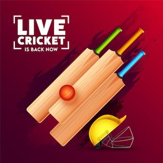 Live cricket est de retour maintenant conception d'affiche avec des chauves-souris réalistes, une balle rouge, un casque et un effet de coup de pinceau violet sur fond rouge.