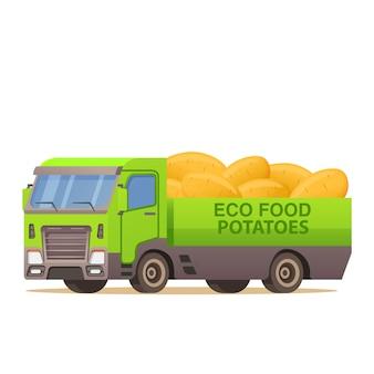 Livraison de camion de voiture récolte des pommes de terre.