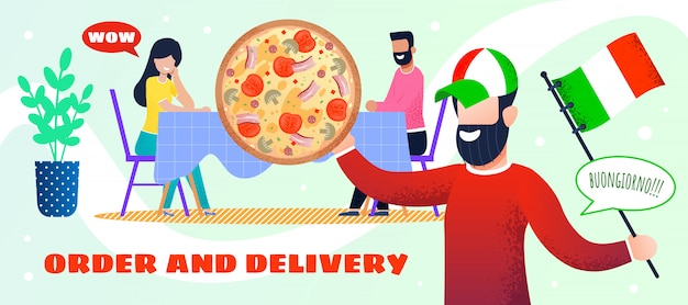 Livraison de la commande. pizza italienne. page web d'atterrissage