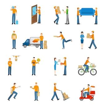 Livraison courrier personnes icons set