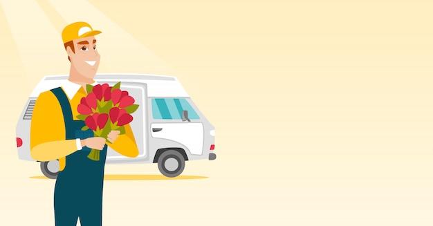Livraison courrier tenant le bouquet de fleurs.