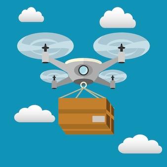Livraison de drone avec une boîte volant