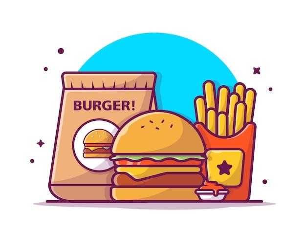 Livraison à emporter cheese burger frites françaises et sauce, illustration blanc isolé