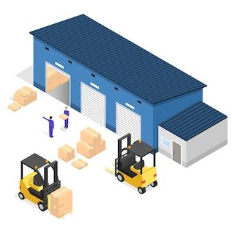 Livraison des entreprises de bâtiment d'entrepôt extérieur. vue isométrique.
