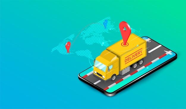 Livraison express par camion avec système e-commerce sur design plat smartphone. illustration