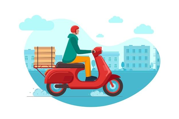 Livraison express de pizza en ville par courrier de service de commande sur cyclomoteur. logistique rapide mâle sur scooter rouge livrant une boîte de nourriture sur la route du paysage urbain. marchandises transportant une illustration vectorielle eps