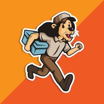 Livraison de garçon lion en cours d'exécution tenant une boîte. logo de personnage de mascotte.
