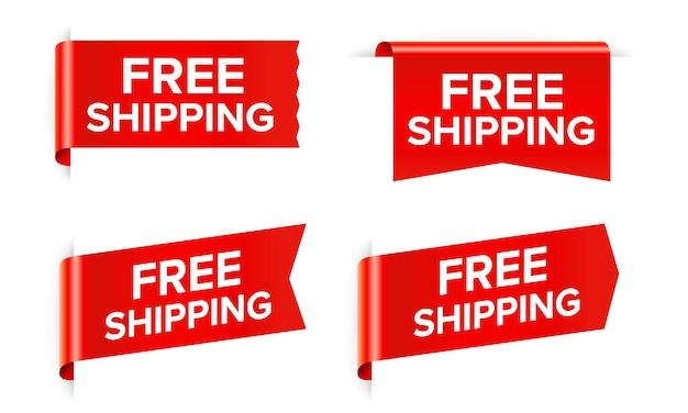 Livraison gratuite autocollant rouge et étiquette de vente isolé sur blanc