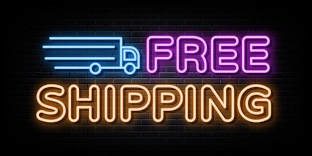 Livraison gratuite enseignes au néon modèle de conception de vecteur style néon
