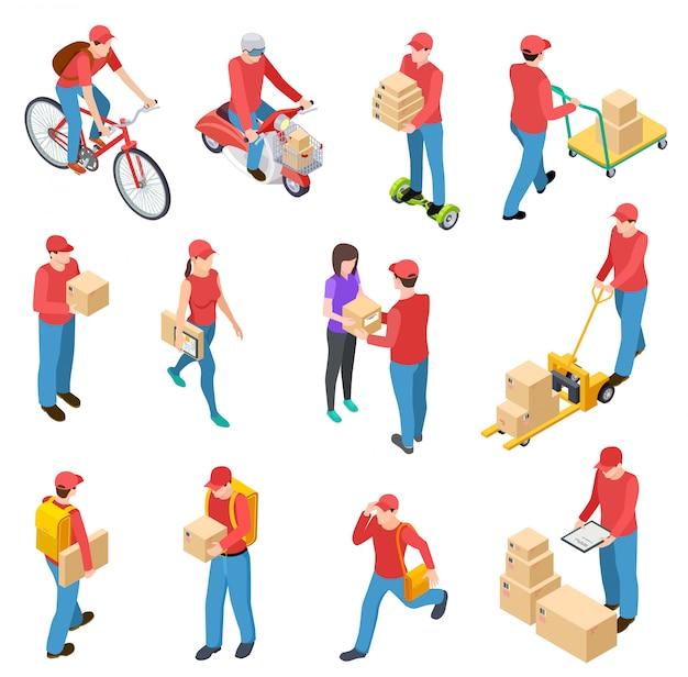 Livraison isométrique. les messagers livrent les gars de facteur livrant des personnages de courrier de scuter de moto de boîte