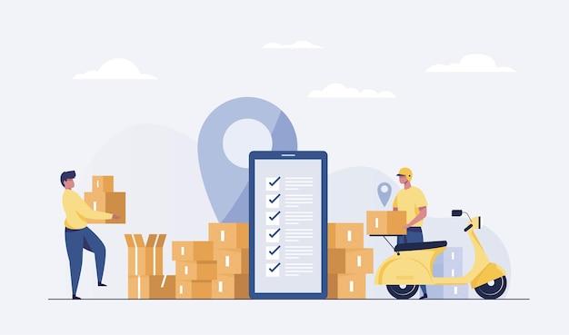 Livraison en ligne. achats numériques rapides et service de transport de courrier urbain expédition de cadeaux concept de livraison vectorielle.