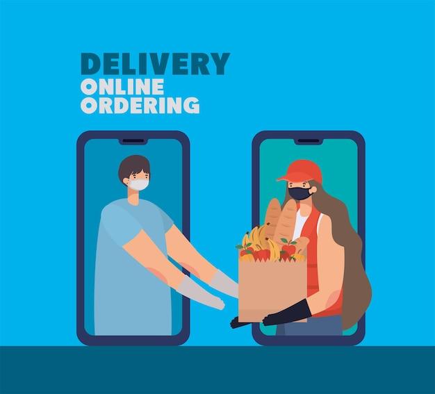Livraison en ligne de lettrage et femme avec masque de sécurité et un sac en papier rempli de produits du marché