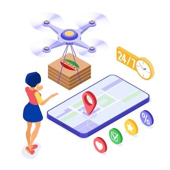 Livraison en ligne de pizza par drone