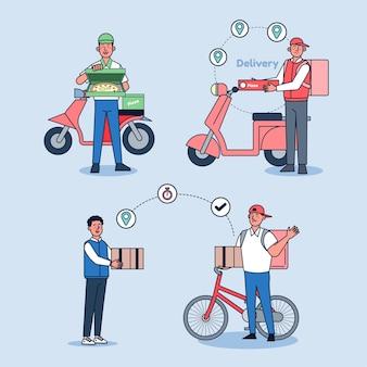 Livraison en ligne, service de commande et jeu d'illustrations de service de livraison