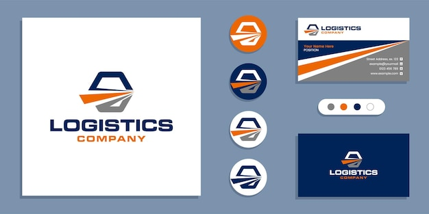 Livraison logistique, logo d'expédition rapide et modèle de conception de carte de visite
