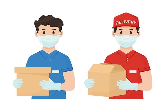 Livraison de marchandises en toute sécurité. protection contre le coronavirus. courriers en masques médicaux. illustration