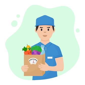 Livraison de nourriture. courrier avec boîte de nutrition saine complète dans les mains. régime équilibré.