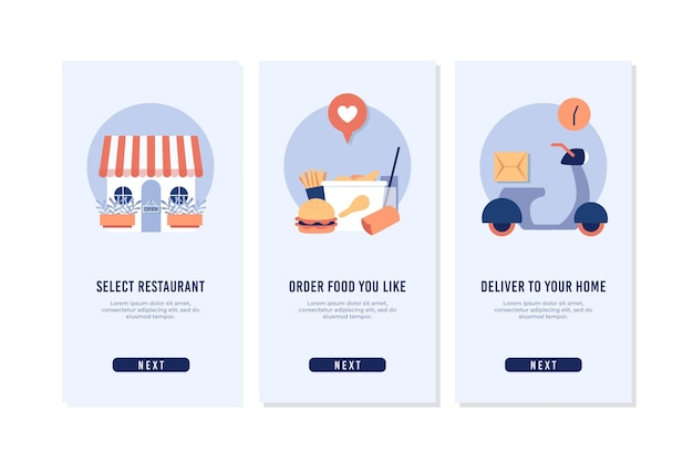 Livraison de nourriture - écrans d'intégration