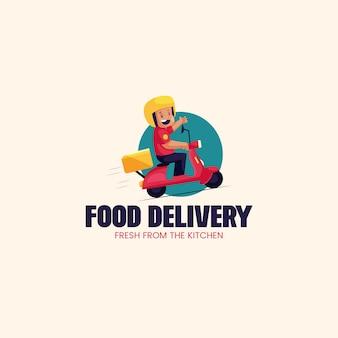 Livraison de nourriture fraîche du modèle de logo de mascotte de vecteur de cuisine