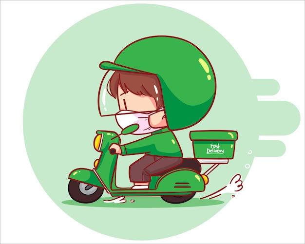 Livraison de nourriture homme mignon à moto, illustration d'art de dessin animé