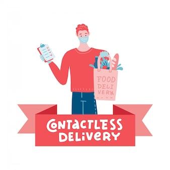 Livraison de nourriture en toute sécurité. jeune coursier livrant une commande d'épicerie au domicile d'un client avec un masque et des gants pendant la pandémie de coronavirus. illustration