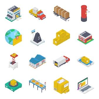 Livraison pack d'icônes isométrique de livraison