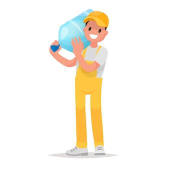 Livraison par courrier de l'eau dans de grandes bouteilles. logo de l'élément livraison d'eau de l'entreprise.