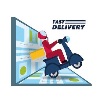 Livraison par courrier avec le paquet de boîte dans la motocyclette et la carte
