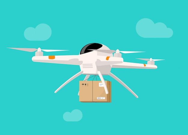 Livraison par drone volant dans le ciel, expédition style plat de boîte de colis vector illustration