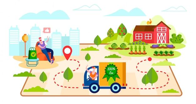 Livraison de la production écologique de la ferme au client