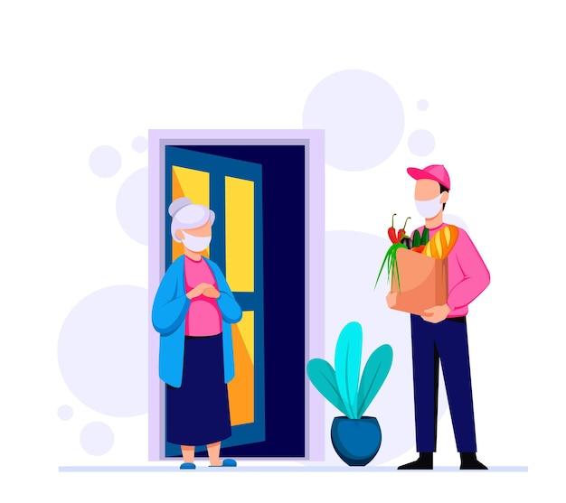 Livraison de produits d'épicerie par coursier assistance aux retraités