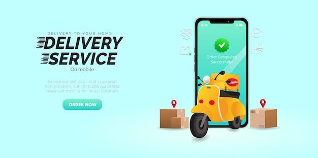 Livraison rapide de colis sur mobile service rapide en scooter