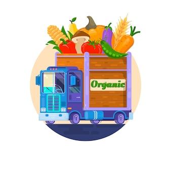 Livraison rapide de légumes frais. la voiture avec des légumes. livraison de nourriture biologique. illuistration de vecteur