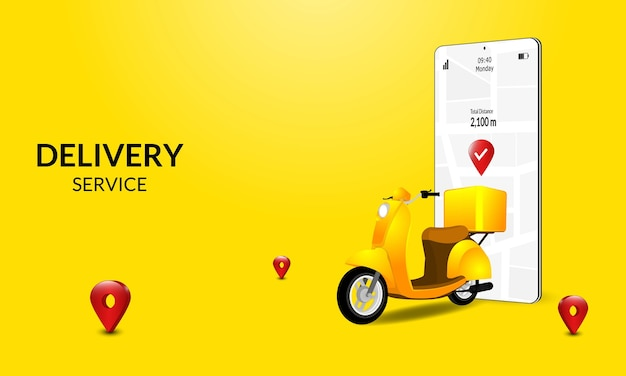 Livraison rapide en scooter sur mobile. concept de commerce électronique. nourriture en ligne