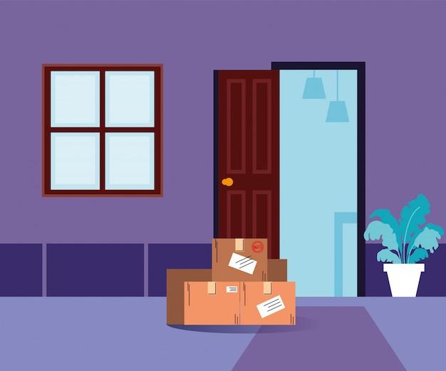 Livraison sans contact, des boîtes d'achats se tiennent à la porte