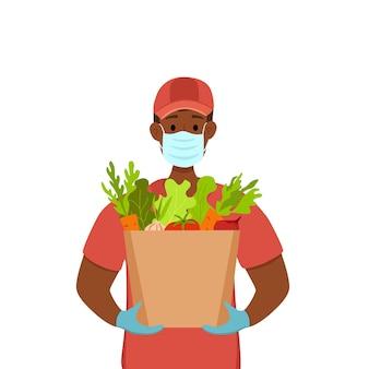 Livraison sans contact pendant la prévention du concept de vecteur de coronavirus courier guy