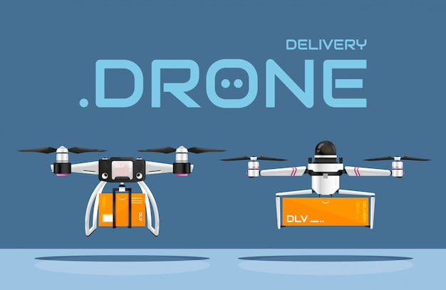 Livraison sûre et sans contact des produits avec des drones à air. deux types de véhicules aériens sans pilote transportant des colis au client. technologies innovantes dans le commerce de détail. meilleures pratiques pour prévenir la pandémie de covid-19.