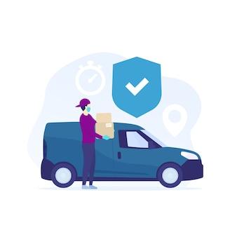 Livraison en toute sécurité, courrier dans des boîtes contenant des masques près de mini van