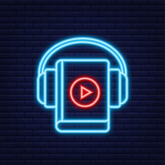 Livre audio de concept pour la page web, la bannière, les médias sociaux. style néon. illustration vectorielle.