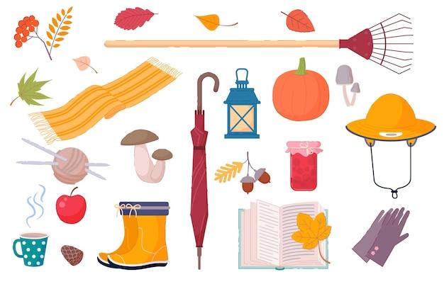 Livre et autres décorations d'automne isolés sur blanc