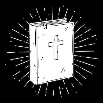 Livre de la bible. illustration dessinée à la main avec livre biblique et sunburst.